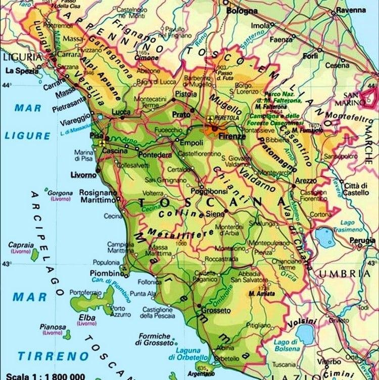 Www Cartina Toscana.Mappa Turistica Toscana Cartina Geografica E Itinerari
